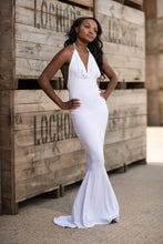 Load image into Gallery viewer, Backless Halterneck Fishtail Dress Front