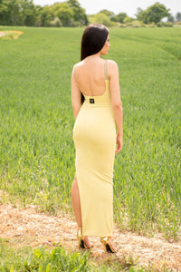 Full Length Backless Beaded Dress with Sides