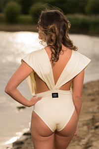 Draped shoulder Swimsuit Back