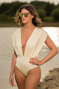 Draped shoulder Swimsuit Front