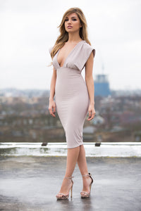 Front - Draped Shoulder Bodycon Dress by Alices Boutique
