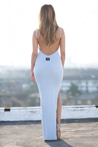 Full Length Backless Beaded Bodycon Dress