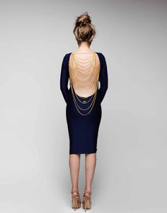 Long Sleeved Backless Chain Dress