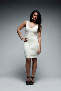 Narrow V Neck Bodycon Dress