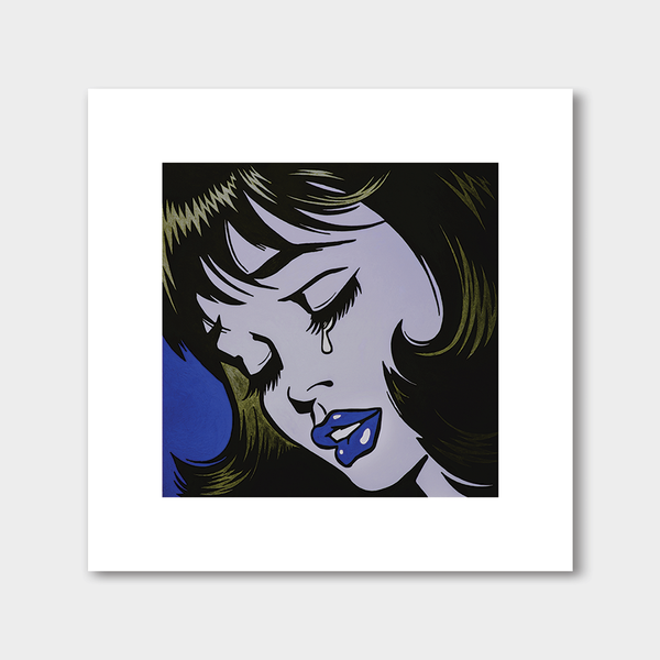 Crying Girl Blueyellow (White Border)