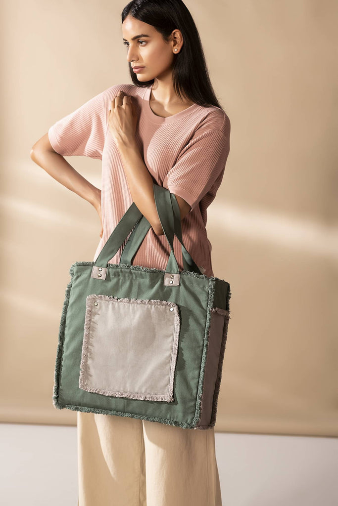 Antiviral Green Fringe Handbag