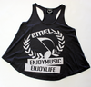 Gray Racerback Tank Top - ENJOYMUSIC ENJOYLIFE Crest Design