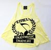 Yellow Racerback Tank Top - ENJOYMUSIC ENJOYLIFE Crest Design