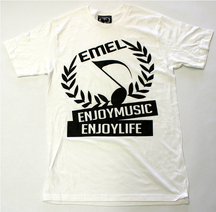 White Music T-Shirt For Men - ENJOYMUSIC ENJOYLIFE Large Crest Design