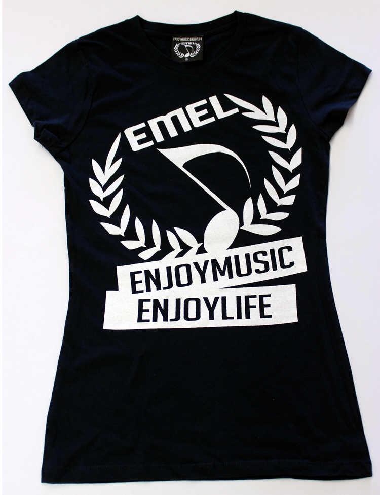 women's music t-shirt -with EMEL crest logo on black fashion fit tee