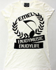 women's music t-shirt -with EMEL crest logo on white fashion fit tee