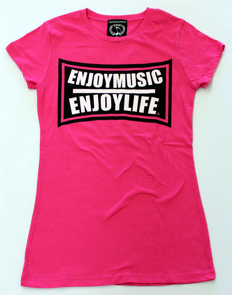 Women's music t-shirt -with EMEL flex logo on pink fashion fit tee shirt