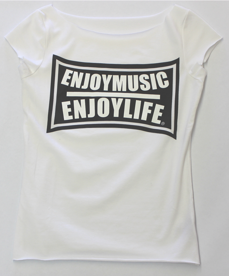 White scoop neck music t-shirt with the flex design by ENJOYMUSIC ENJOYLIFE