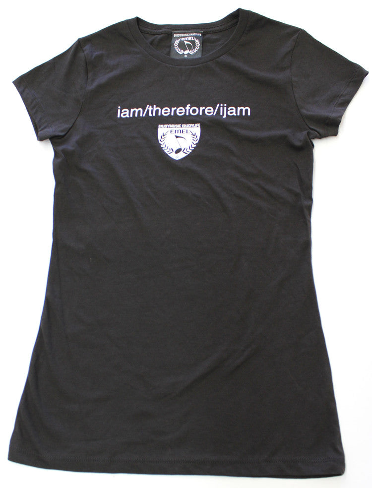 I am therefore I jam music t-shirt. Black music tee shirt design by ENJOYMUSIC ENJOYLIFE FASHION BRAND