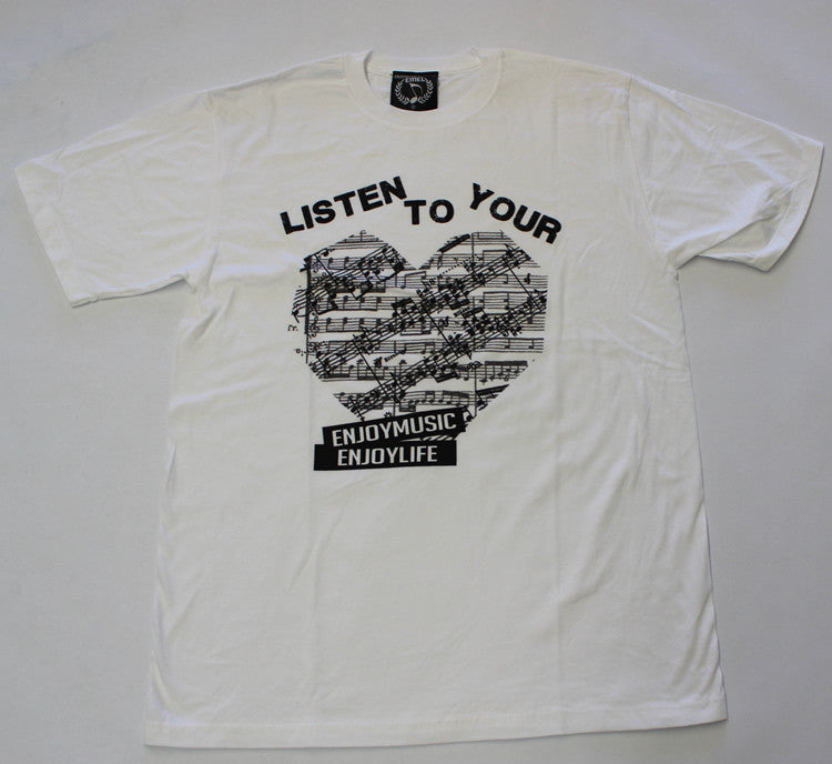 Listen to your heart music t-shirt. White music tee shirt designed by ENJOYMUSIC ENJOYLIFE FASHION BRAND