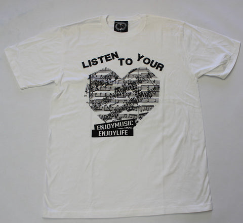 LISTEN TO YOUR HEART MUSIC T-SHIRT - MEN - ENJOYMUSIC ENJOYLIFE FASHION BRAND