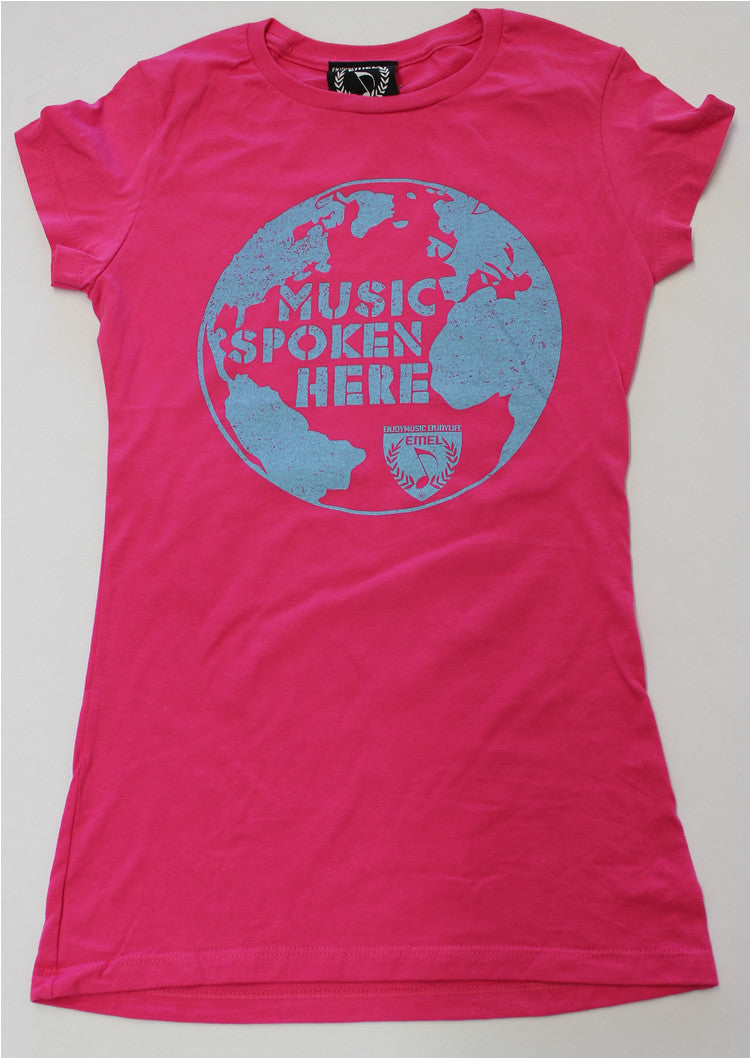 Picture of women's music spoken here music t-shirt by ENJOYMUSIC ENJOYLIFE fashion brand
