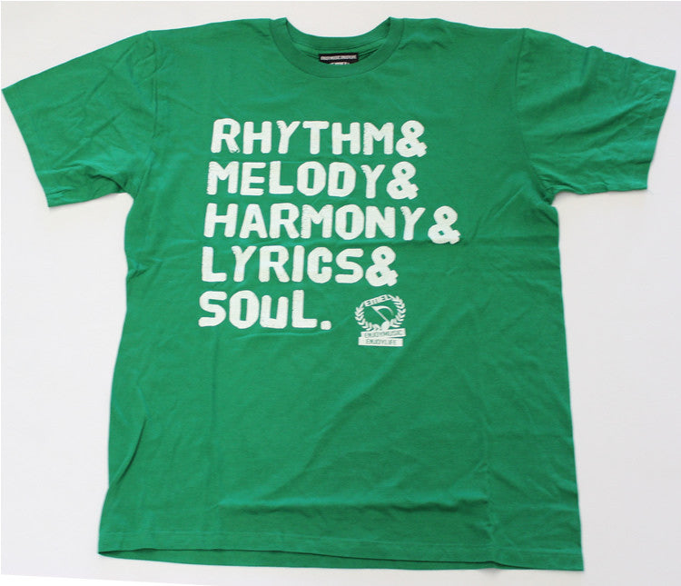 Green Picture of Rhythm Melody Harmony Lyrics Soul Music T-shirt by ENJOYMUSIC ENJOYLIFE fashion brand