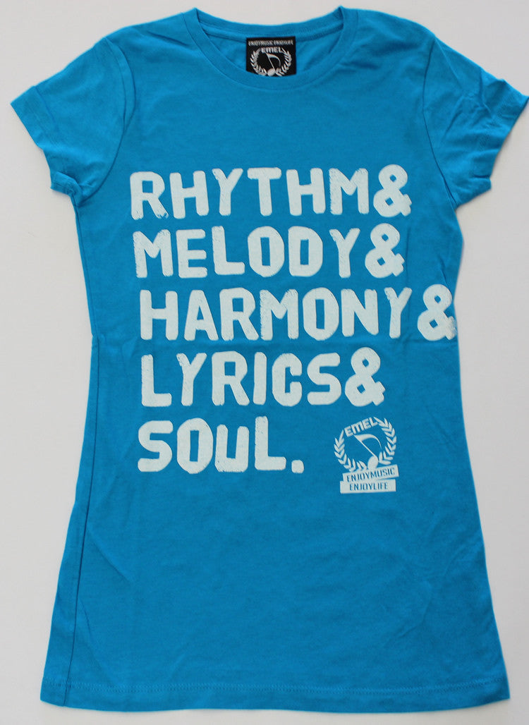 Turquoise Picture of Rhythm Melody Harmony Lyrics Soul Music T-shirt by ENJOYMUSIC ENJOYLIFE fashion brand