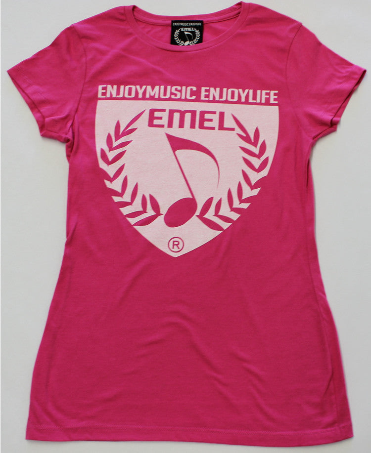 PICTURE OF WOMAN'S SYMBOL OF MUSIC LOVERS SHIELD - MUSIC T-SHIRT - BY ENJOYMUSIC ENJOYLIFE FASHION BRAND