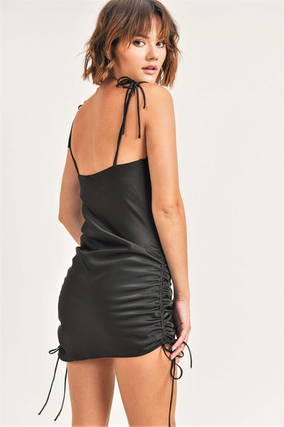 Asymmetrical Ruched Mini Dress
