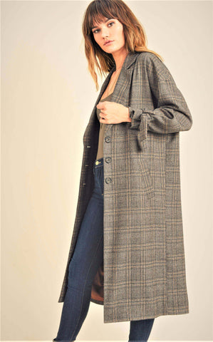 Button Up Plaid Trench Coat