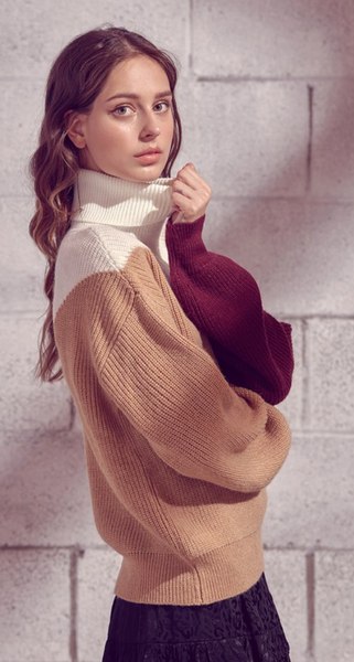 Tri-Color Block Sweater