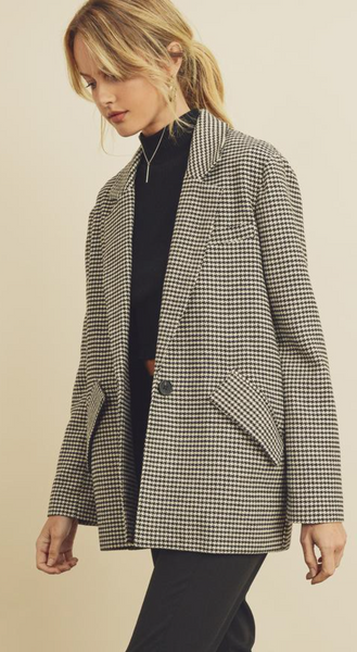 Houndstooth Plaid Boyfriend Jacket