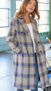 Plaid Button Down Long Coat