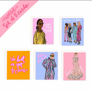 Set of 5 Fashion Illustration Assorted Cards