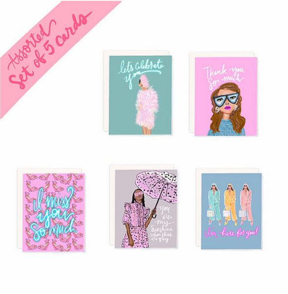 Set of 5 Fashion Illustration Assorted Cards #2