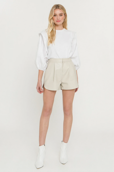Taupe Faux Leather Shorts