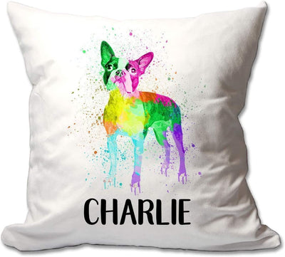 Personalized Watercolor Boston Terrier Throw Pillow  - Cover Only OR Cover with Insert