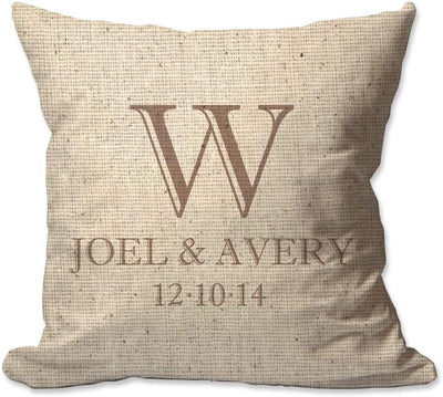 Couples Names and Initial Throw Pillow with Date