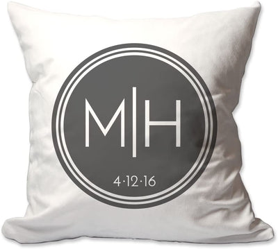 Couples Initials and Date Throw Pillow in Circle