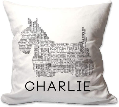 Personalized Scottish Terrier (Scottie) Dog Breed Word Silhouette Throw Pillow  - Cover Only OR Cover with Insert