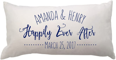 Happily Ever After Lumbar Throw Pillow with Couples Names and Date