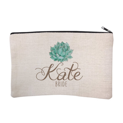 Personalized Succulent Bridal Party Bride Cosmetic Bag