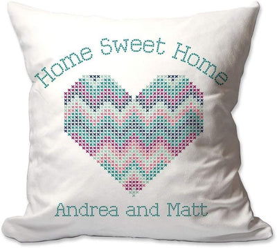 Personalized Cross Stitch-Look Home Sweet Home Throw Pillow  - Cover Only OR Cover with Insert