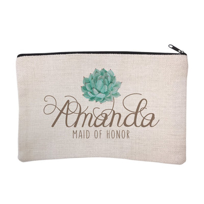 Personalized Succulent Bridal Party Maid of Honor Cosmetic Bag