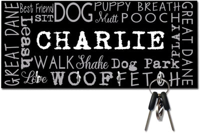 Personalized Great Dane Word Collage Key and Leash Hanger