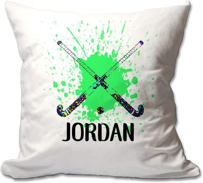 Personalized Splatter Paint Field Hockey Throw Pillow  - Cover Only OR Cover with Insert