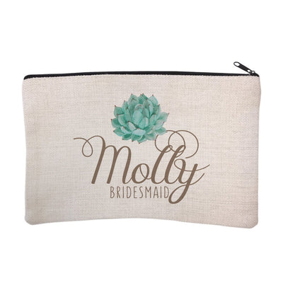 Personalized Succulent Bridal Party Bridesmaid Cosmetic Bag