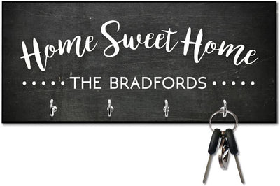 Chalkboard Look Home Sweet Home Key Hanger with Name