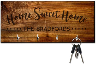 Rich Wood Look Home Sweet Home Key Hanger with Name