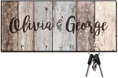 Rustic Wood Plank Look Key Hanger with Name
