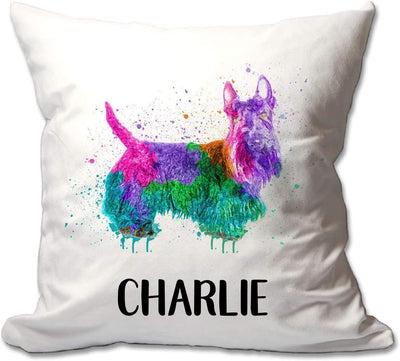 Personalized Watercolor Scottish Terrier Throw Pillow  - Cover Only OR Cover with Insert