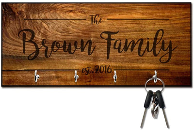 Rich Wood Look Key Hanger with Family Name and Date