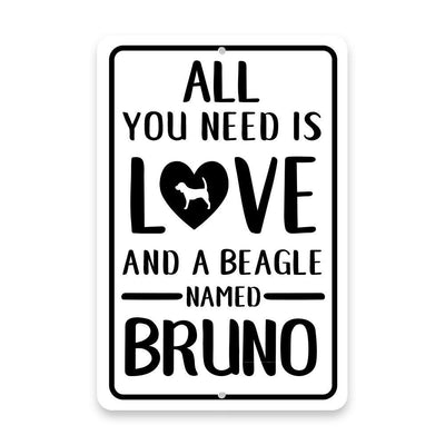 Personalized All You Need is Love and a Beagle Metal Room Sign