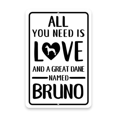 Personalized All You Need is Love and a Great Dane Metal Room Sign